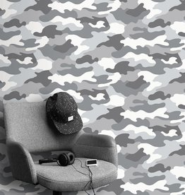 Kidz Club Camouflage Wallpaper Grey