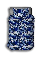 Camouflage Dekbedovertrek 200x200 Blauw