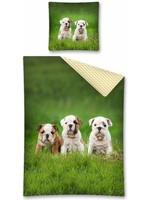 Bulldog Duvet Cover Set Pups