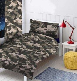 Camouflage Tweepersoons Dekbedovertrek Zwart