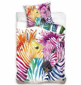 CharactersMania Kleurrijke Zebra Dekbedovertrek