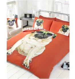Doghouse Designs Pug Hond Rood Dekbedovertrek Tweepersoon