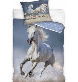 Carbotex Paard Dekbedovertrek Wit