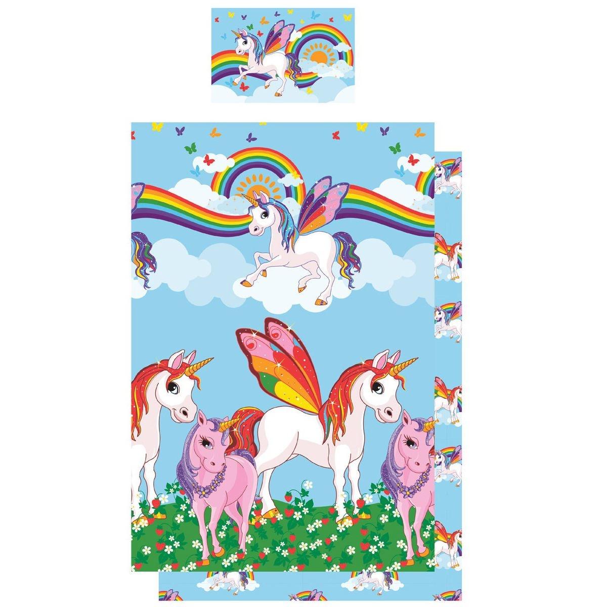 Kidz Regenboog Unicorn Dekbedovertrek