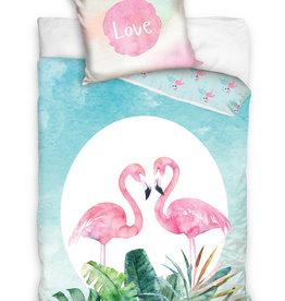 Flamingo Duvet Cover Set Love