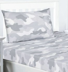CharactersMania Camouflage Fitted Sheet Grey