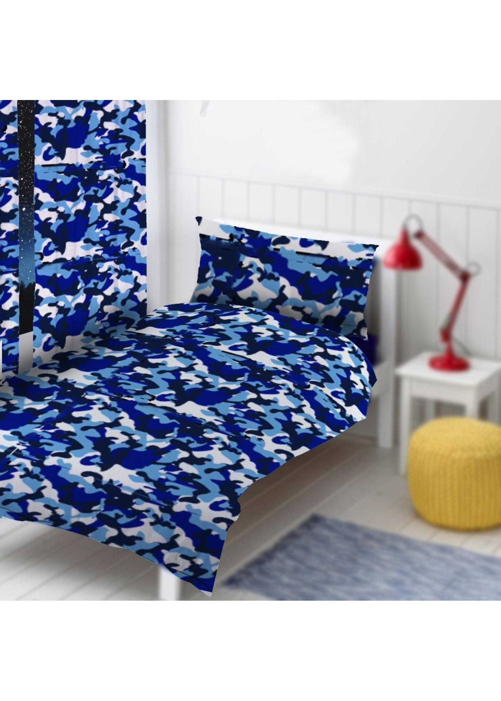 Camouflage Tweepersoons Dekbedovertrek Blauw