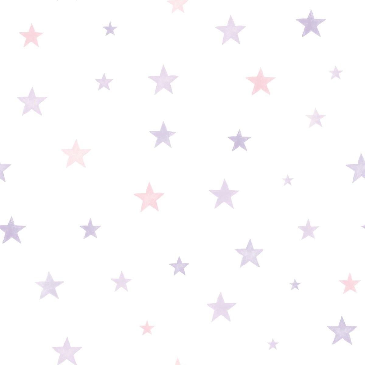 Little Ones Sterren roze/lila Behang