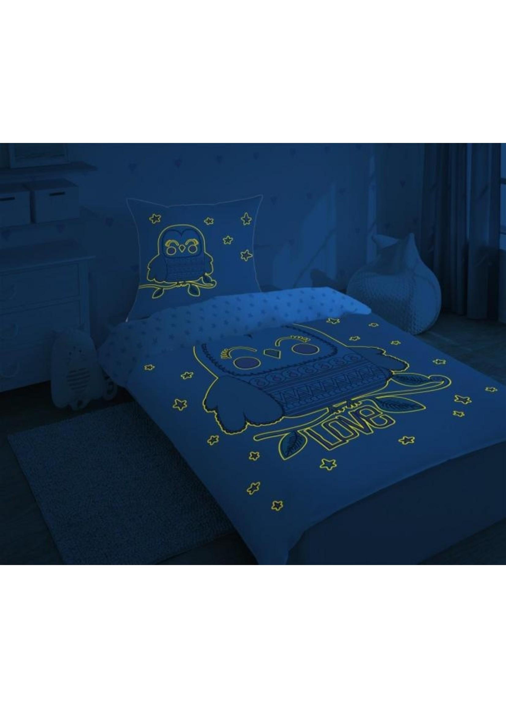 Uil LOVE dekbedovertrek Glow in the Dark
