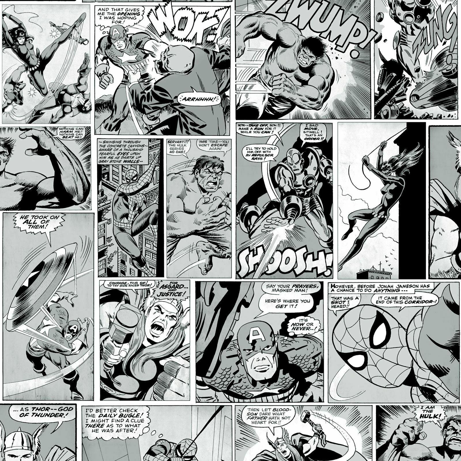 Marvel Marvel Comics Behang Striphelden Zwart Wit