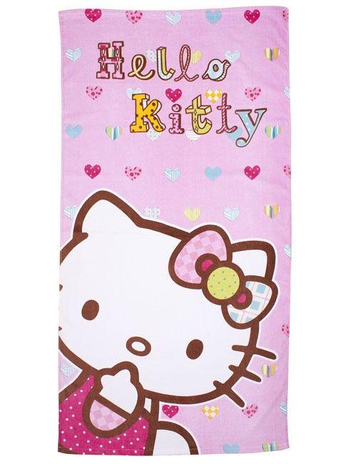 Handdoek Hello Kitty.Sanrio Hello Kitty Handdoek Hartjes Kleuren