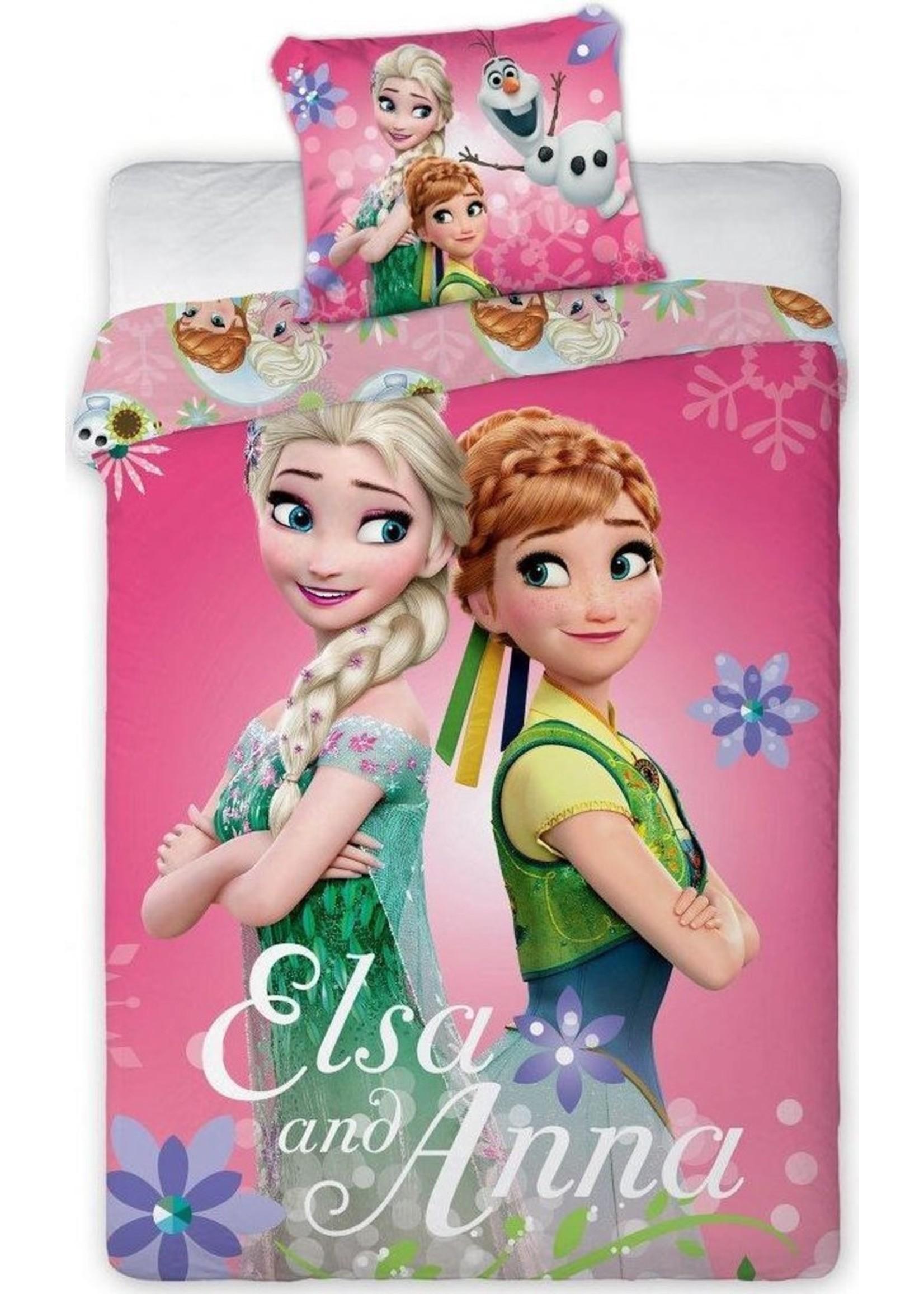 Disney Elsa en Anna Eenpersoons Beddekovertrek 100 cm x 135cm