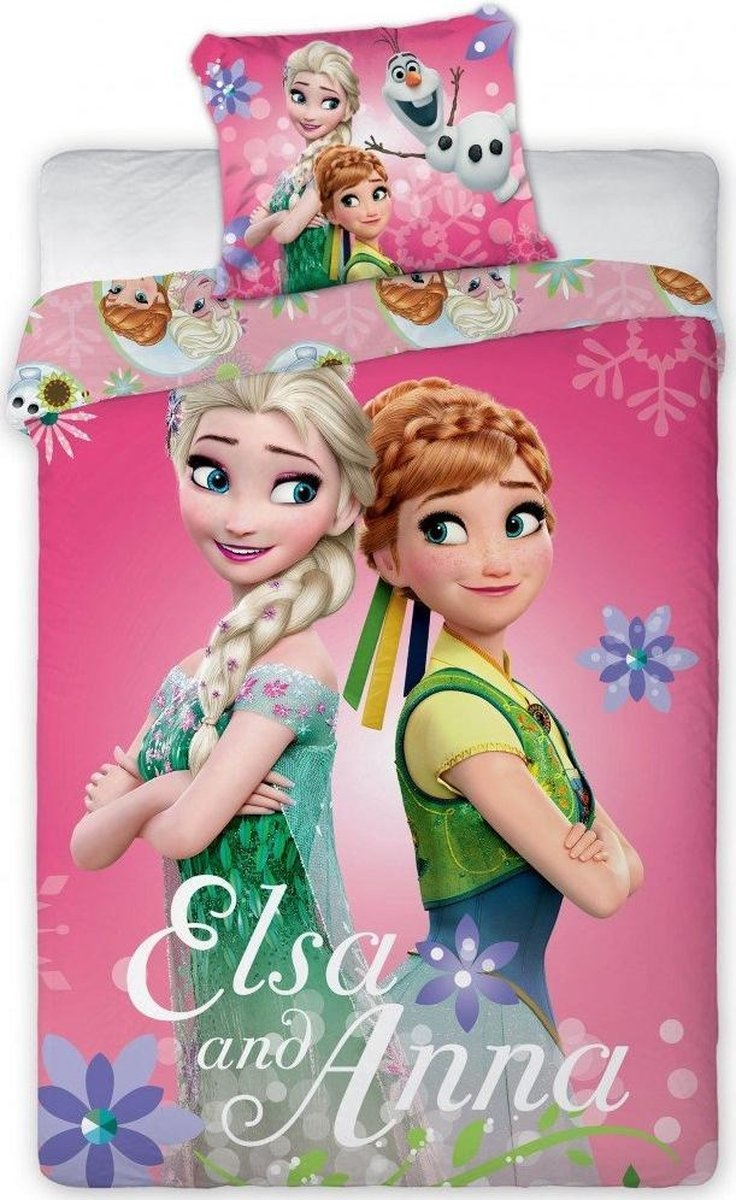 CharactersMania Disney Elsa and Anna Single Bed Cover 100 cm x 135 cm