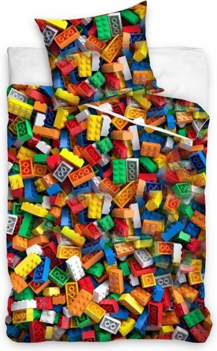 Carbotex Lego Blokken Bricks Dekbedovertrek 140x200cm 100%Katoen - Copy