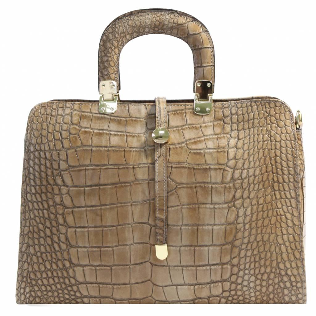 19720fe6042 Carelli Italia Leren dames laptoptas krokodillenprint Genoa Beige ...