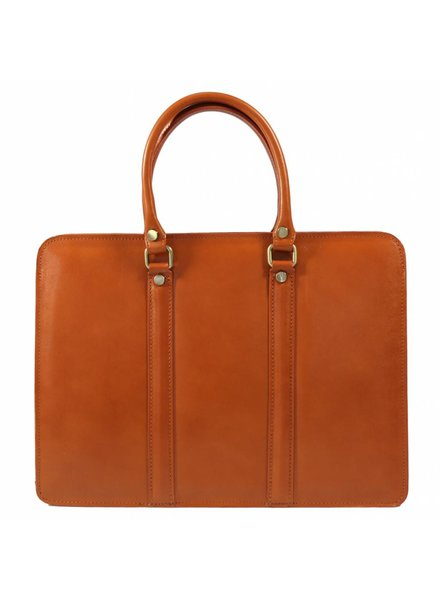 Carelli Italia Leren dames laptoptas Sorrento Oranje