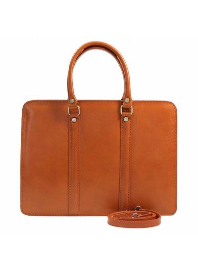 Carelli Italia Leren dames laptoptas Sorrento Oranje