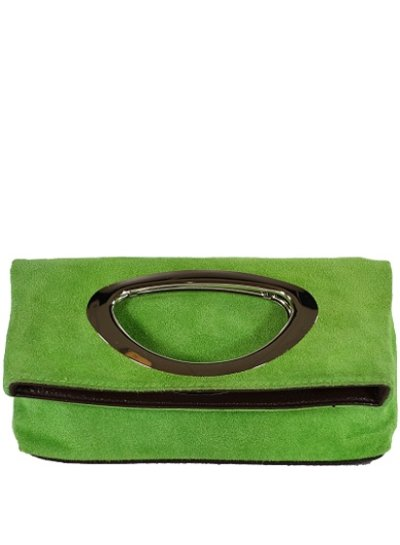 Carelli Italia Suede Clutch Milano Groen