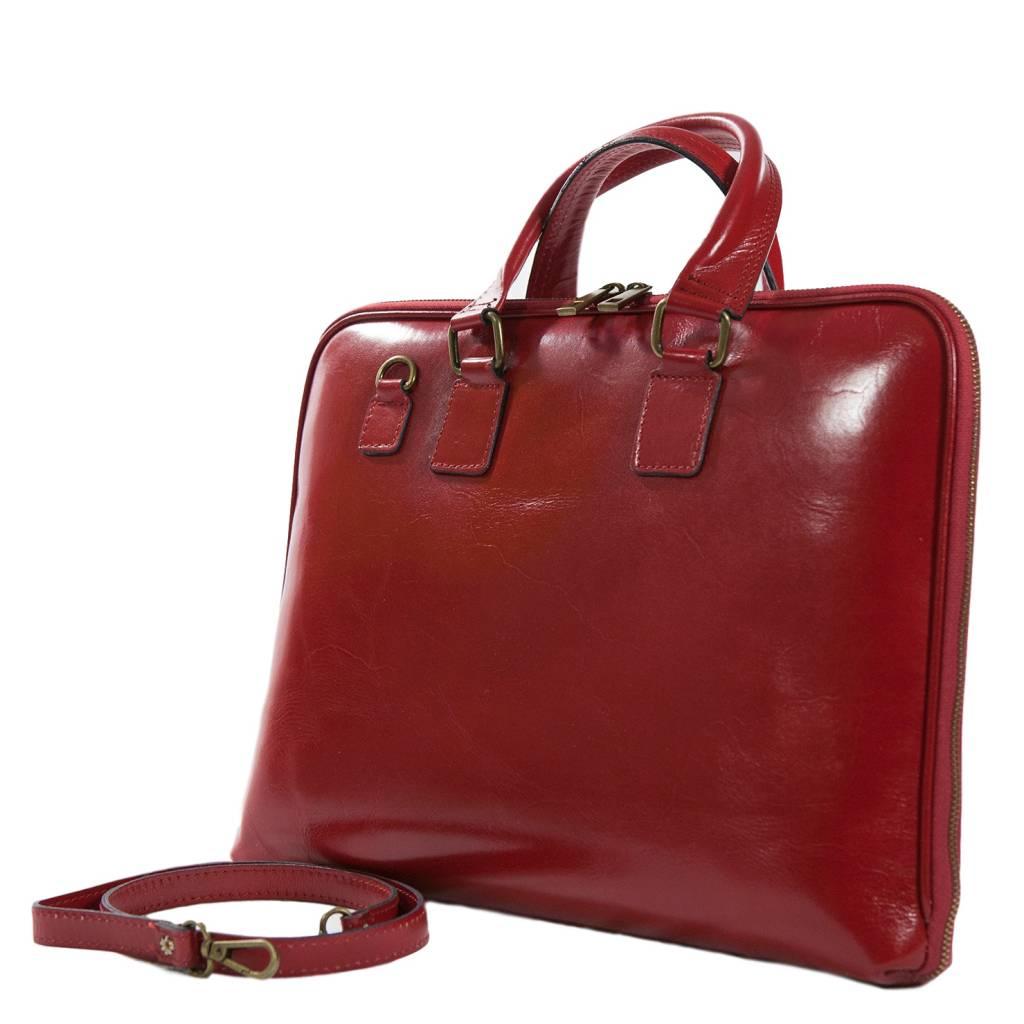 c390db28121 Carelli Italia Leren laptoptas Napels rood Carelli Italia Leren laptoptas  Napels rood ...