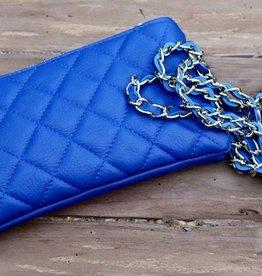 100 % leren clutch blauw 13x22cm