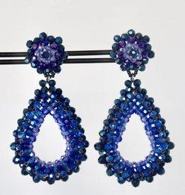 Clip met blauwe luxe druppel hanger 7cm