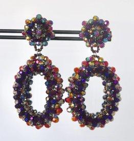 Clip met multicolor ovale kristallen hanger 7cm