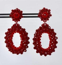 Clip met rode ovale kristallen hanger 7cm