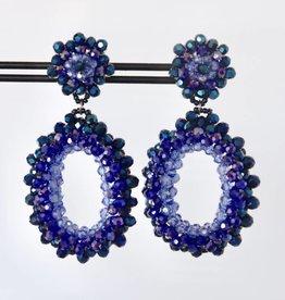 Clip met blauwe ovale kristallen hanger 7cm