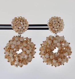 Clip met beige ronde kristallen hanger 5cm