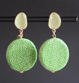 Groene edelsteen steker met groen roggenleer 5cm