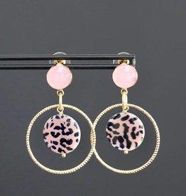 Roze steker met gouden ring en roze tijger bedel 5cm