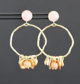 Roze steker met grillige ring en roze bedels 5cm