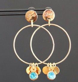 Gouden steker met ring en turquoise bedeltje 6cm