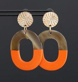 Gouden steker met oranje hanger van hoorn 5cm