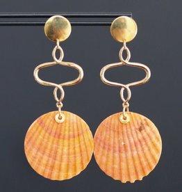 Gouden steker met oranje schelp 8cm