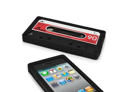 Силиконовый Чехол Кассета 90-х для iPhone 4/4S Черный