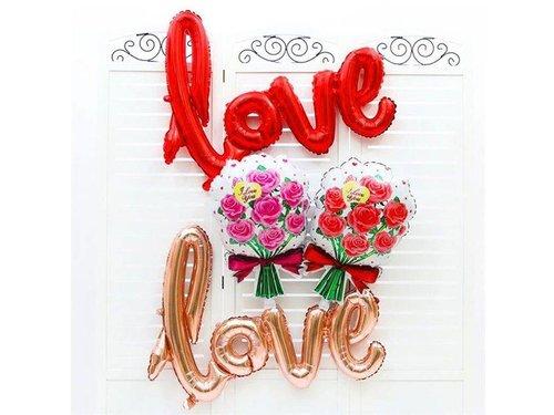 Шар надувной Love 41*104 см Золотой