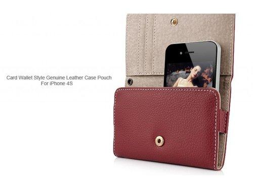 Кожаный кошелек чехол для iPhone 4, 4s Красный