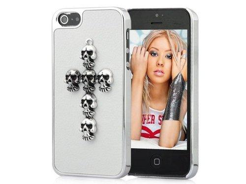 Крышка для iPhone 5/5s с крестом из черепов Белая