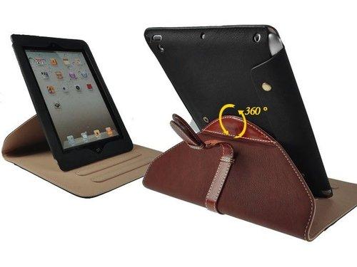 Кожаный чехол портфель для iPad 2, 3, 4 Черный