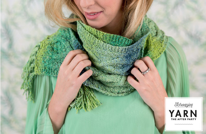 "YARN Patron de crochet 12 ""Mossy Cabled Scarf"""