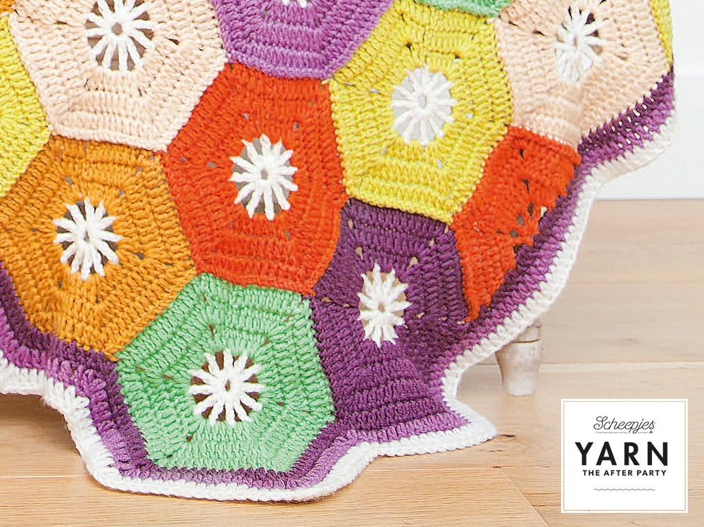 "YARN Patron de crochet 14 ""Hexagon Blanket"""