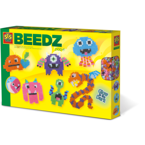 SES Creative SES Beedz - Strijkkralen Glow in the dark monsters