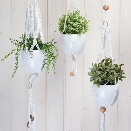 Hoooked Hoooked - Zpagetti Macramé Hanging Basket White