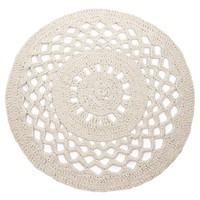 Hoooked -RibbonXL Crochet Round Rug Sandy Ecru
