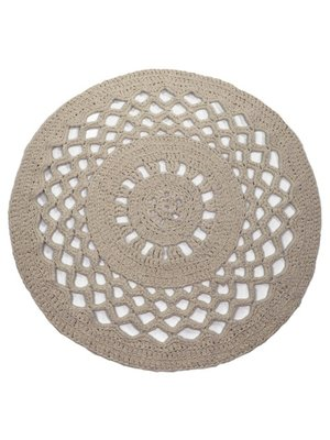 Hoooked Hoooked -RibbonXL Crochet Round Rug Earth Taupe