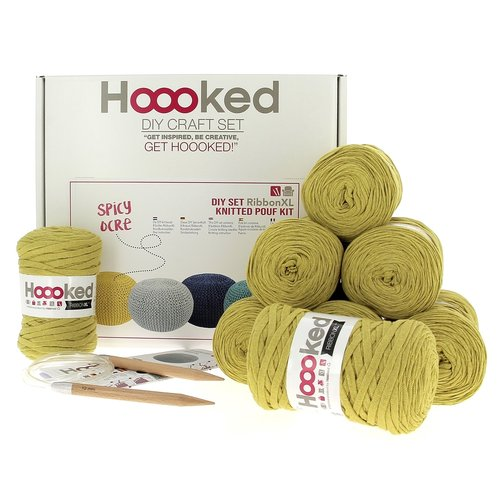 Hoooked Hoooked -RibbonXL Strick Kit Sitzkissen Spicy Ocre