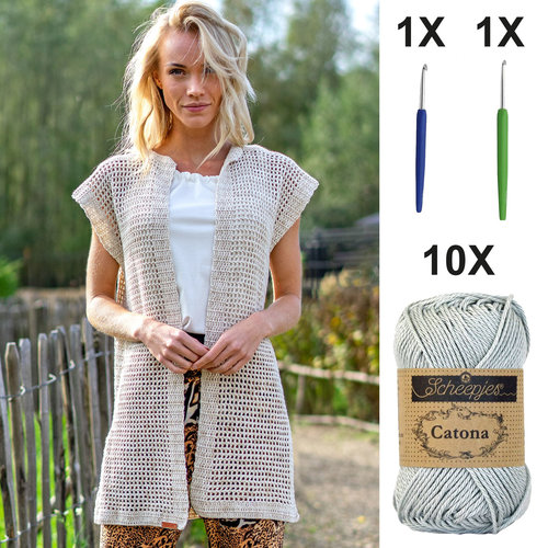 DIY Kit Crochet kit C1001 Vest Silver Grey + free magazine