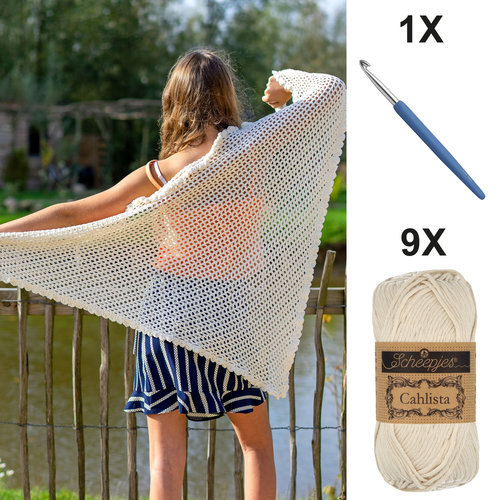 DIY Kit Crochet kit C1002 Shawl Ecru + free magazine
