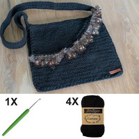 Crochet kit C1003 Bag Black + free magazine